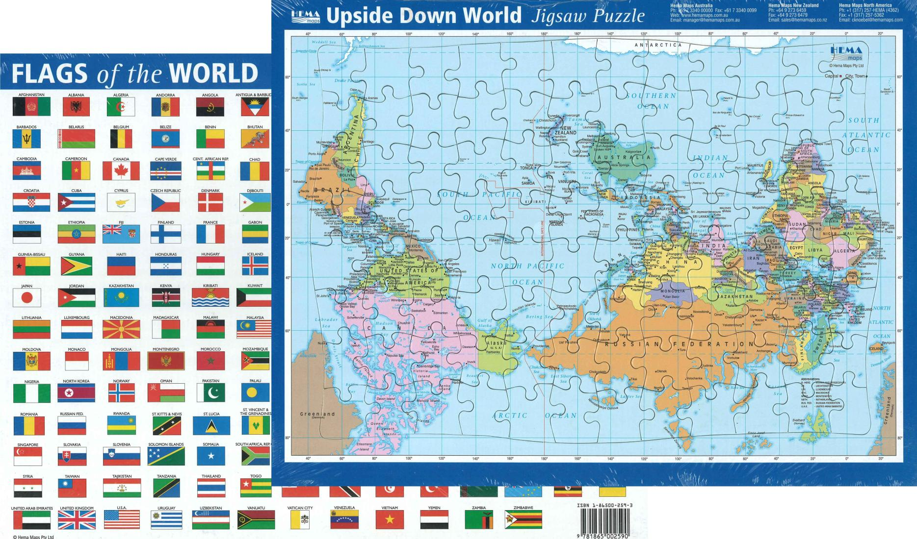 World, Political, Puzzle, Upside Down, 96 pieces by Hema Maps