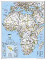 Africa Classic Enlarged Wall Map (35.75 x 46.25 inches) (Tubed) by National Geographic Maps