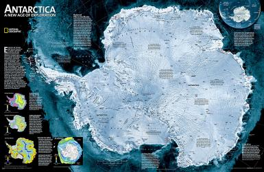 Antarctica Satellite Wall Map - Laminated (31.25 x 20.25 inches) by National Geographic Maps