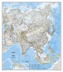 Asia Classic Wall Map - Laminated (33.25 x 38 inches) by National Geographic Maps