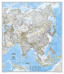Asia Classic Wall Map (33.25 x 38 inches) (Tubed) by National Geographic Maps