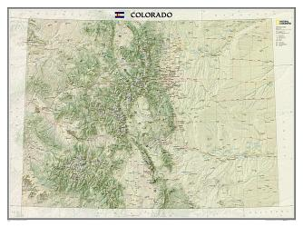 Colorado Wall Map (40.5 x 30.25 inches) (Tubed) by National Geographic Maps