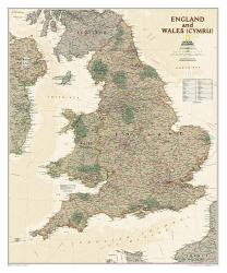 England and Wales Executive Wall Map - Laminated (30 x 36 inches) by National Geographic Maps