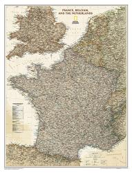France, Belgium, and The Netherlands Executive Wall Map (23 x 30 inches) by National Geographic Maps