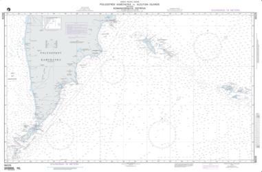 Poluostrov Kamchatka To Aleutian Islands Including Komandorskiye Ostrova Nautical Chart (96028) by National Geospatial-Intelligence Agency