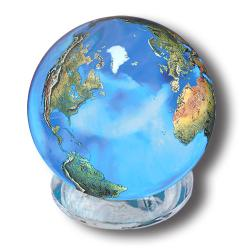 Aqua Crystal Earth Sphere With Natural Earth Continents, 2 Inch Diameter by Shasta Visions