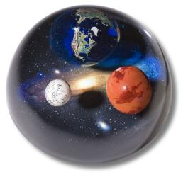 Andromedome Paperweight, Earth, Mars & Moon To Scale, Educational Info Lasered On Back, 4 Inch Diameter by Shasta Visions
