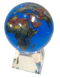 Amazing Crystal Globe - Aqua Crystal Sphere With Natural Earth Continents With Tapered Crystal Base, 6 Inch Diameter by Shasta Visions