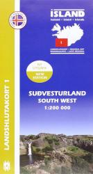 South West Iceland, Regional Map 1 - 1:200,000 by Mal og menning