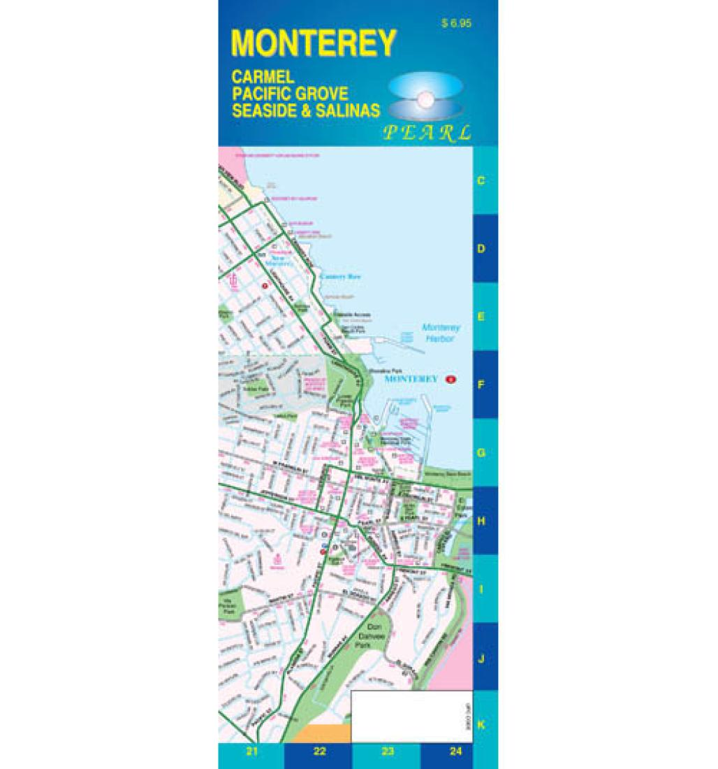 Monterey California Pearl Map Laminated By Gm Johnson