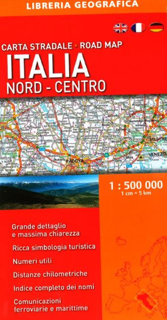 Road Map Of Northern Italy.Italy North Central Road Map By Libreria Geografica