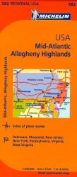 United States, Mid-Atlantic and Allegheny Highlands (582) by Michelin Maps and Guides
