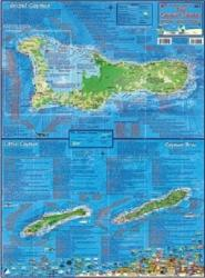 Caribbean Map, Cayman Islands, laminated, 2008 by Frankos Maps Ltd.