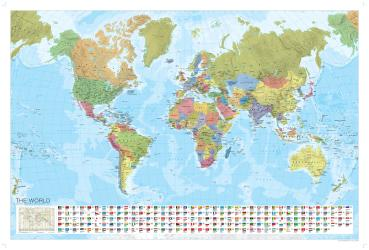 World, Political, Laminated Wall Map with Flags by Marco Polo Travel Publishing Ltd