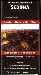 Sedona, Arizona Outdoor Recreation Map with Topographic Shaded Relief by Beartooth Publishing