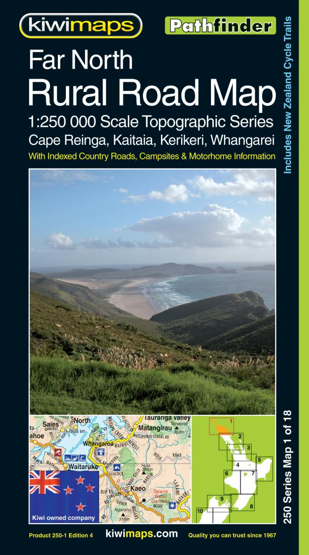 New Zealand Topographic Map.Far North Rural Roads New Zealand Topographic Map By Kiwi Maps