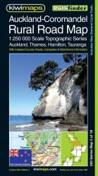 Auckland-Coromandel, New Zealand, Rural Roads Topographic Map by Kiwi Maps