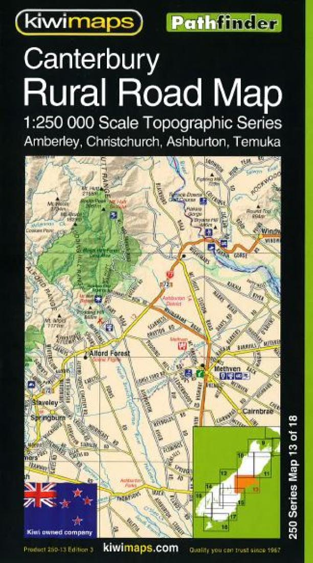 Canterbury New Zealand Rural Roads Topographic Map By Kiwi Maps