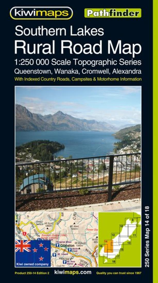 New Zealand Topographic Map.Southern Lakes Rural Roads New Zealand Topographic Map By Kiwi