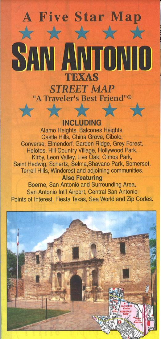 Map Of Texas During The Alamo.San Antonio Texas By Five Star Maps Inc