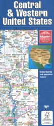 Central & Western United States Road Map by
