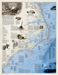Shipwrecks of the Outer Banks, laminated by National Geographic Maps