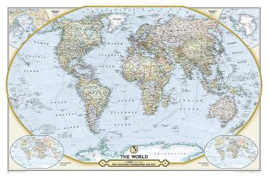 125th Anniversary World Map, Laminated by National Geographic Maps