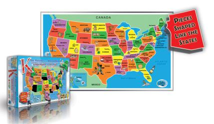 Kids' Puzzle of the USA, 55 piece by Broader View