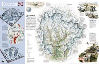 Mount Everest/Himalayas 50th Anniversary, 2-Sided, Tubed by National Geographic Maps
