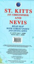 St Kitts and Nevis, Caribbean, Road Map by Kasprowski Publisher