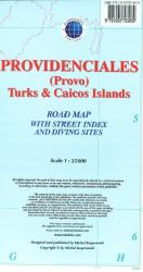 Providenciales (Provo), Turks & Caicos Islands, Road Map by Kasprowski Publisher