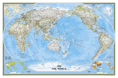 World, Pacific Centered, Classic, Sleeved by National Geographic Maps