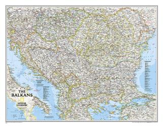 The Balkans Classic Wall Map (30.25 x 23.5 inches) (Tubed) by National Geographic Maps