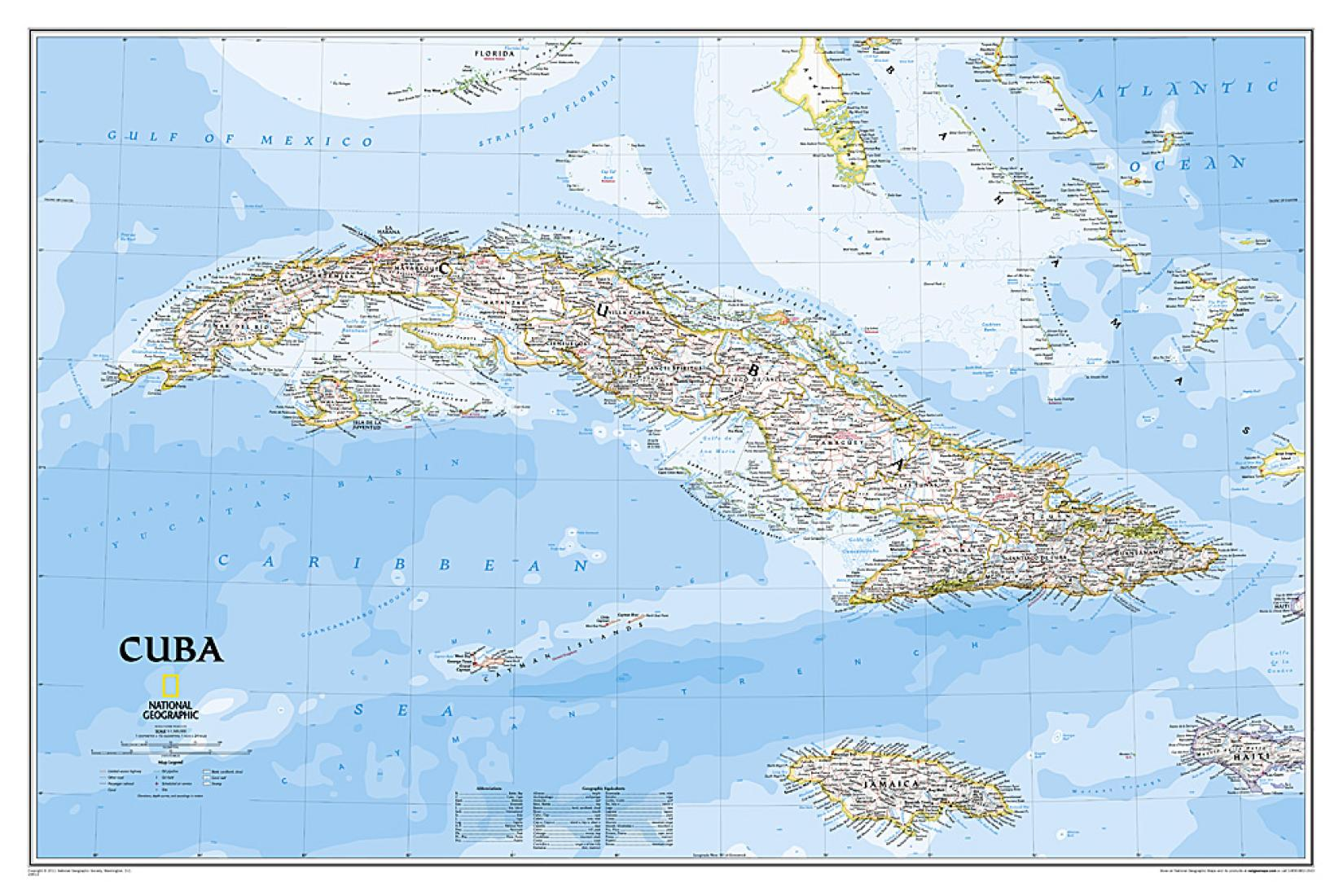 Cuba Florida Map.Cuba Classic Wall Map 36 X 24 Inches Tubed By National
