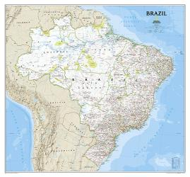 Brazil, Classic, Sleeved by National Geographic Maps