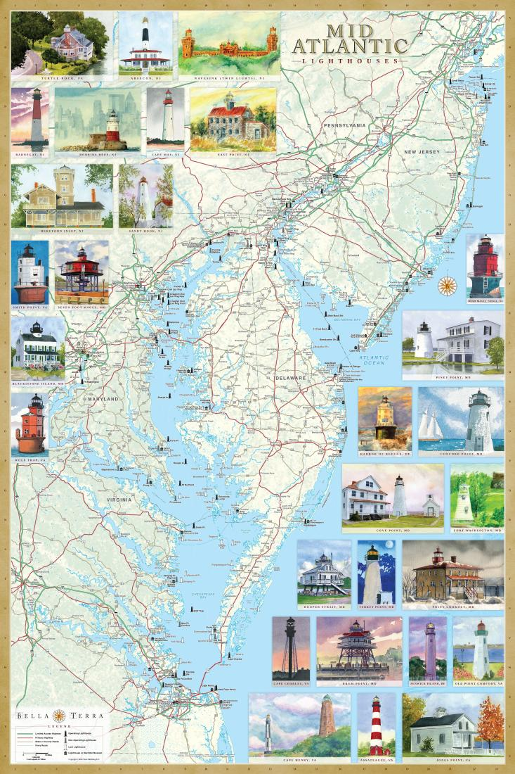 MidAtlantic Lighthouses Map Laminated Poster By Bella Terra - Giant world map poster laminated