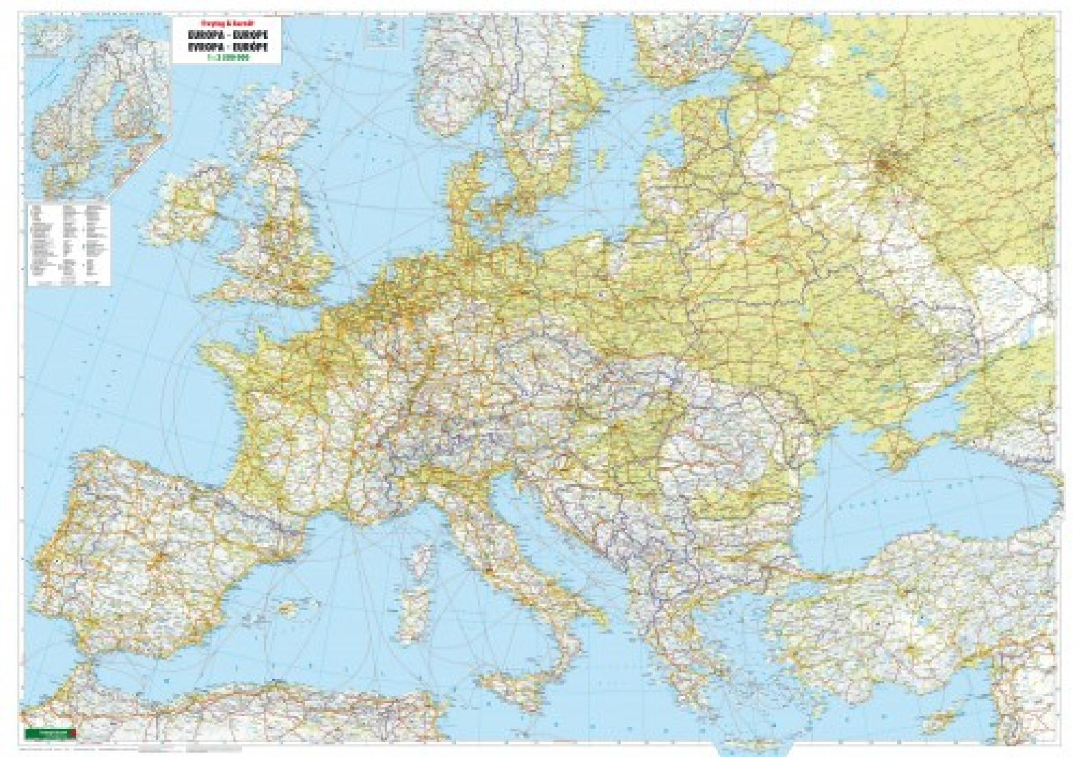 Europe Physical Wall Map By Freytag Berndt Und Artaria