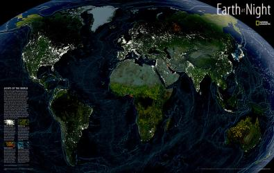 Earth at Night, Sleeved by National Geographic Maps