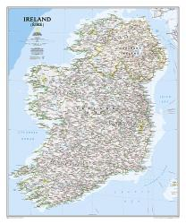 Ireland Classic Wall Map (30 x 36 inches) by National Geographic Maps