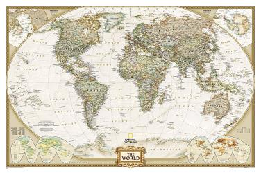 World, Executive, Enlarged and Sleeved by National Geographic Maps
