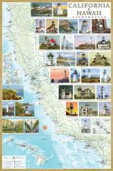 California and Hawaii Lighthouses Map, Laminated Poster by Bella Terra Publishing LLC