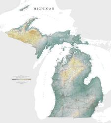 Michigan, Physical Wall Map by Raven Press