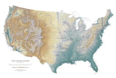 United States (except Alaska and Hawaii), Laminated Wall Map by Raven Maps