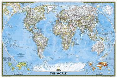 World, Classic, Poster-sized, Sleeved by National Geographic Maps