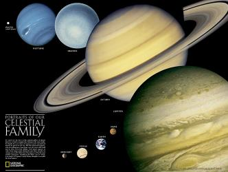 The Solar System: 2 sided Wall Map (24.25 x 18.25 inches) by National Geographic Maps