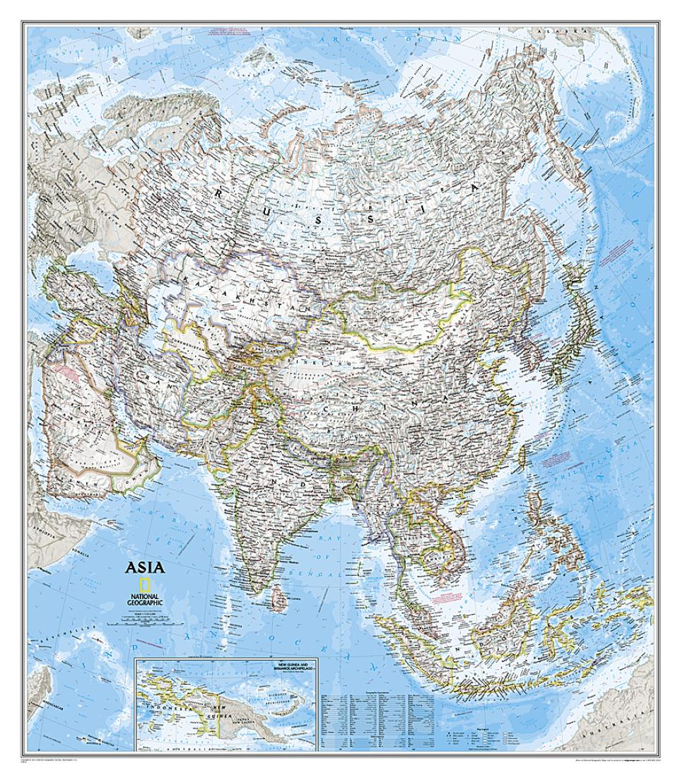 Asia Clic Wall Map (33.25 x 38 inches) by National Geographic Maps Definition Of Relief Map on