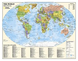 World, Kids, Political Education (Grades 4-12), Wall Map by National Geographic Maps