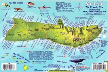 Molokai, Hawaiian Islands, Reef Creatures Fish ID Card by Frankos Maps Ltd.