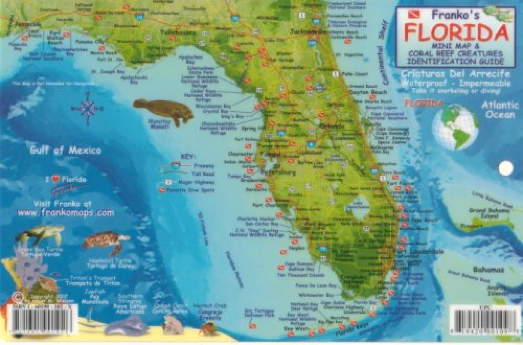 Map Of Florida Keys.Florida Keys Fish Id Card By Frankos Maps Ltd