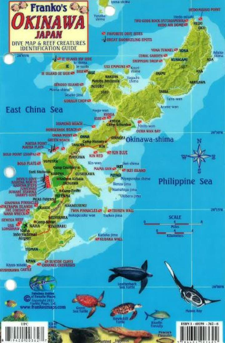 Okinawa, Japan, Dive Map and Reef Creatures Identification Guide
